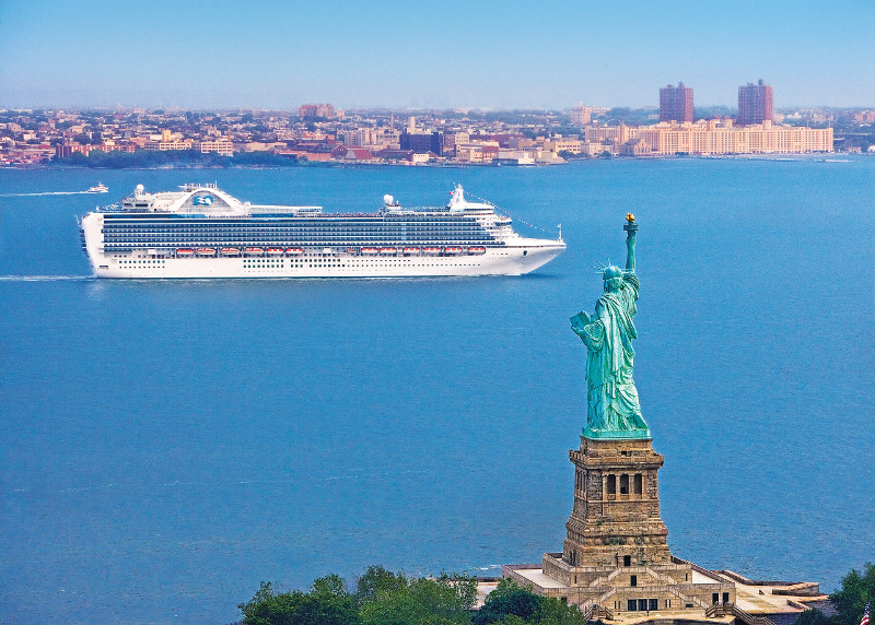 Crown Princess Sailing past Statue of Liberty New York