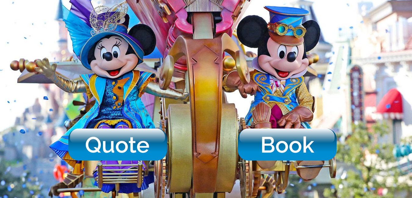 Mickey Mouse and Minnie Mouse on Parade at Disneyland Paris - Click for a Quote or to Book